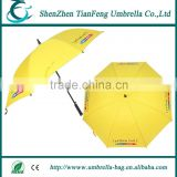 promotion plastic runner golf umbrella with black rubber coated plastic handle and black plastic tip