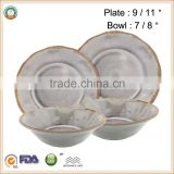 "CHEAPEST PRICE!!!100% Melamine 9/11""Plates &7/8""Bowls Dinnerware Set SGS/FDA approval"