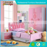 latest modern pink lovely kids bed bedroom furniture set for girls in Guangzhou for wholesale