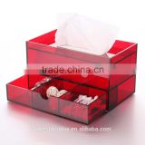beautiful red acrylic tissue box,plastic tissue box,acrylic napkin box with drawer