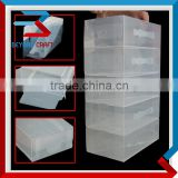 Home packaging box crystal clear plastic shoe boxes with dividers