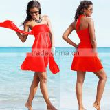 Women Bandeau Strapless Dress Bikini Cover-Up Summer Swimwear Beach Skirt                                                                         Quality Choice
