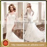 VDN34 Elegant Hand Made Full Appliqued Bodice Bridal Party Gown 2016 Long Train Sheer Back Lace Wedding Dresses with Sleeves