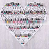 New Black Metal Mountable Hang 6-Tier Hearted Nail Polish Station Organizer Display Rack that can hang in the wall