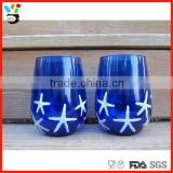 Hand made White & Sliver Nautical Starfish personalized cobalt blue stemless wine glass