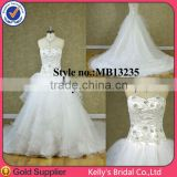 Dashing Style srapless a-line outdoor wedding dresses with asymmetric organza