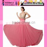 Latest Design V-neck Sleeveless Pink Chiffon Bead Embroidered Evening Dress Sale Floor-Length Bead Embroidered Evening Dress