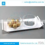 White Acrylic Serving Tray With 2pcs Small Bowl Diamond Chained Christmas & Wedding Decoration Plastic Food Tray