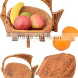 Colorful Design Fish Spiral Cut Carved Bamboo Wood Carved Folding Fruit Soft Bread Basket