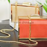 #680 fashion squared shaped golden frame clutch bag PU ladies leather evening shoulder bags cosmetic bag