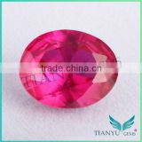 2015 wholesale loose gemstones 5# oval shape synthetic ruby corundum red ruby price