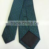 Men's blue\green 100% silk tie with leaves design