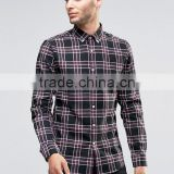 Custom Embroidered Logo Long Sleeve Button Down Collar Mens 100% Cotton Heavyweight Flannel Check Print Slim Fit Casual Shirts