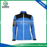 Fashional design blue with black nylon / polyester waterproof women jacket with white zipper