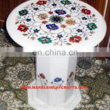 White Round Marble Inlay Coffee Table Top, Decoration Marble Inlay Table Top