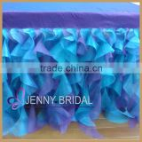 TC012F1 jenny bridal curly willow table skirting designs,table cloth and table skirt