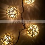 Solar Powered Handcraft 20LEDS Hanging Ball String Lights Plug-in Decoration Light Holiday Lighting