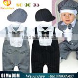 2016 Hot sale Kids Clothes Cute baby boy organic cotton jumpsuits with cap breathable handsome boy kids clothing rompers