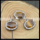 Wholesale LFD-0031B Druzy Tiger's Eye Stone Pave Rhinestone Crystal Connector Beads For Making Bracelet