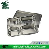 Food Grade Compartment Tray Stainless Steel Compartment Meal Tray