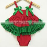 infant christmas ruffle set kids boutique outfit baby girls swing top set