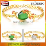 New Peacock Animals Plating 18K Yellow Gold Women Agate Stone Bracelets Bangles
