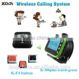 KOQI wireless watch wrist pager system K-300plus for hospital restaurant calling waiter service Wireless Calling launch button