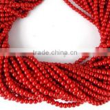 "5 Strands Brick Red Glass Pearl Smooth 4.5mm Rondelle Beads,Acrylic Pearl beads,Jewelry Beads,Pearlized Beads,16"" Long"