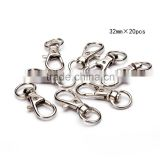 TOP Quality Nickle Plated Lobster Claw Swivel Clasps 32mm 20pcs per Bag for Key Ring (Approxi 1 1/4 * 1/2 inch)