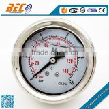 (YBF-50D) 50mm standard diameter industrial use oil liquid shockproof type caterpillar hydraulic pressure gauge meter