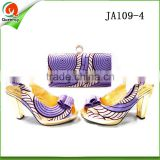 guangzhou wholesale italian shoes and bag set african wax style lilac purses handbags matching sandals shoe