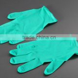 Non-sterile, powdered, green, disposable, medical thick synthetic examination latex gloves
