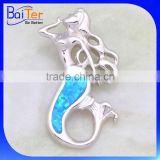 Rhodium Plated Mermaid Jewelry 925 Sterling Silver Synthetic Blue Opal Mermaid Pendant                                                                         Quality Choice