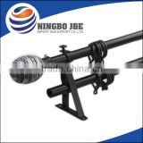 Powder coating iron curtain rod with leaf shape finial,curtain pole
