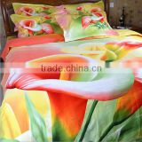2015 fashion reactive printed flower 100% natural cotton 3d bed cover set