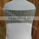 YHS#564 sequin band polyester banquet wedding wholesale chair cover sash bow                                                                         Quality Choice