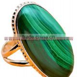 Bold!! A1473 Silver Ring Semiprecious Stone 925 Sterling Jewelry At Wholesale Green Gemstone Jewellry