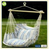 relaxed Cotton blue and white stripes fabric hammock chair with two cushions                                                                         Quality Choice