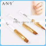 ANY Clear Acrylic Handle 3PCS Set Nail Art Nail Brushes for Gels and Acrylic
