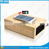 QI Wooden Bluetooth Speaker Wireless Charger Station ,Led Clock&Alarm Clock& Temperature Dispaly