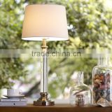 wholesale high quality modern crystal pillar table lamp with beige cylinder fabric lamp shade for wedding gift