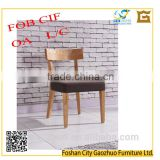 Modern simple styled ash solid wood dinning chair with cushion seat and fabric covering