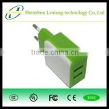 lvxiang power adapter Factory of FCC CE Rohs 2A dual usb travel charger with flolding plug