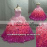 Hot sale free shipping wholesale custom-made beaded sequined real ruffled pink ball gown CWFab5548 Image
