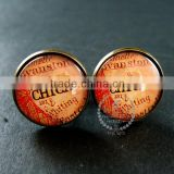 20mm vintage style antiqued bronze Chicago old map art collage glass cabochon round cufflinks fashion wedding cuff links 6600039