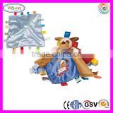 E059 Taggies Dog Character Blanket Baby Mink Safety Soft Velboa Satin Back Blanket with Dog