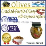 Cracked Purple Olives with Cayenne Peppers, High Quality 100% Tunisian Table Olives,Cracked Olives with Peppers 370 ml Glass Jar