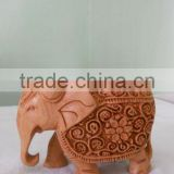 wooden Elephant Handmade Statue Sculpture India Rich Art And Craft Rajasthan Animal Figure