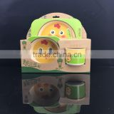 hot marketing best quality baby bowl, spoon bowl cup bamboo fiber eco-friendly baby dinner set