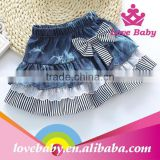 Latest Korean stripe bowknot children demin jeans skirts